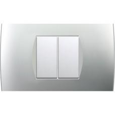 TEM Classic 2 Gang Switch Soft Black-Elox Silver-Stone White-Anthracite-Impulse Blue-Titanium