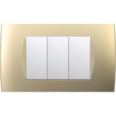 TEM Classic 3 Gang Switch Night Black-Sand Gold-Anthracite-Impulse Blue-Titanium
